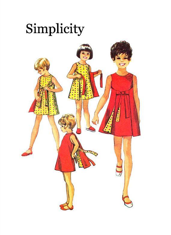 Vintage 1970s Simplicity 8817 Girls Reversible Wrap Dress ...