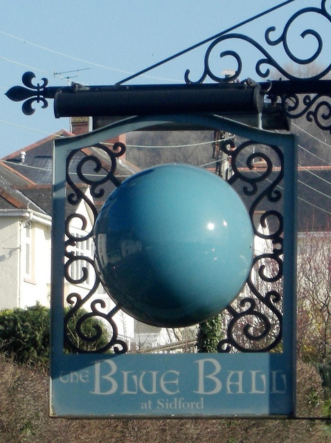 The Blue Ball pub sign Sidmouth, East Devon, UK