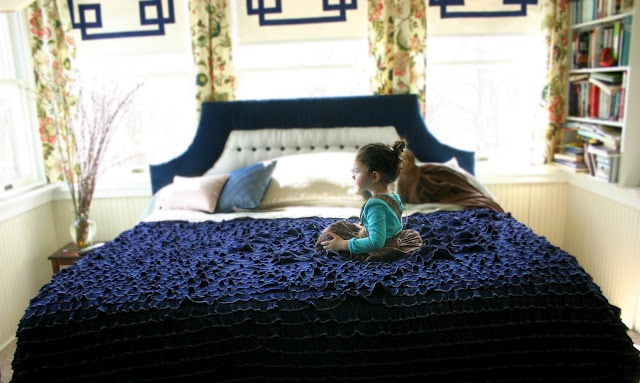 Homemade duvet cover (includes link to awesome ruffled fabric store), i love the idea of this colour in our bedroom...