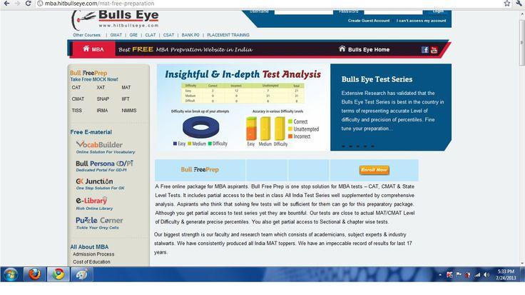 Join MAT Mock Test Series By Bulls Eye for Online Preparation for MAT / CMAT 2013 Mock Test.   http://mba.hitbullseye.com/mat-free-preparation