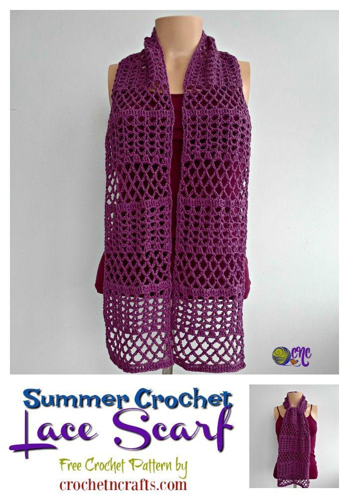 Summer Crochet Lace Scarf Free Crochet Pattern Crochet Scarf
