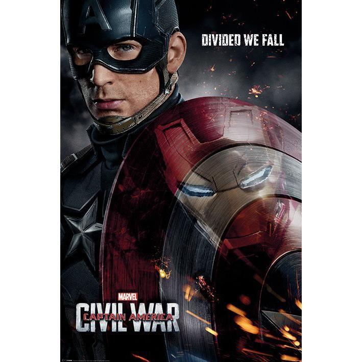 """Poster verticale """"Reflection"""" di #CaptainAmerica Civil War. Dimensioni: 61 x 91,5 cm."""