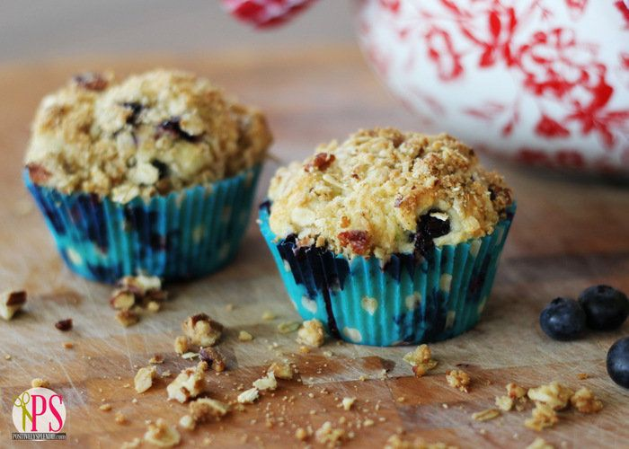 Blueberry Muffins with Oat-Pecan Streusel Recipe at PositivelySplendid ...