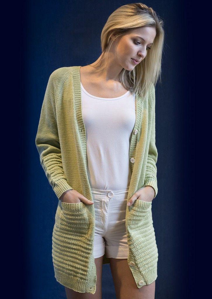 1457: Lang cardigan med bisser og lommer i Mayflower Cotton 1. [Strikkeopskrift, Garn, Pattern, Knitting, Spring/summer 2016]