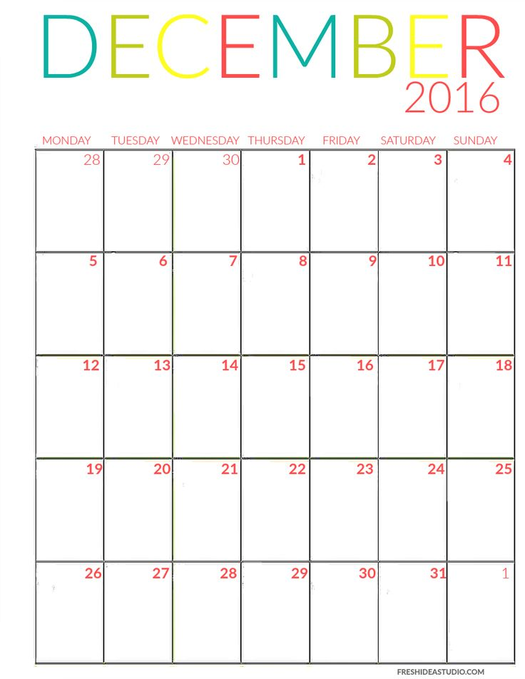 December Calendar color Printable