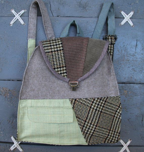 'Eating the goober' handmade backpack made from recycled clothes, (men's suits & trousers) and brand-new textiles. Colors:  different shades of beige & brown, light green.