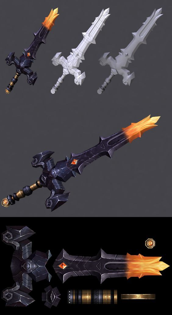 Sword Art Low poly sword with hand painted texture: