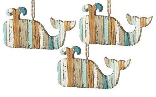 Great Blue Whale Coastal Chrismas Holiday Ornaments Set of 3