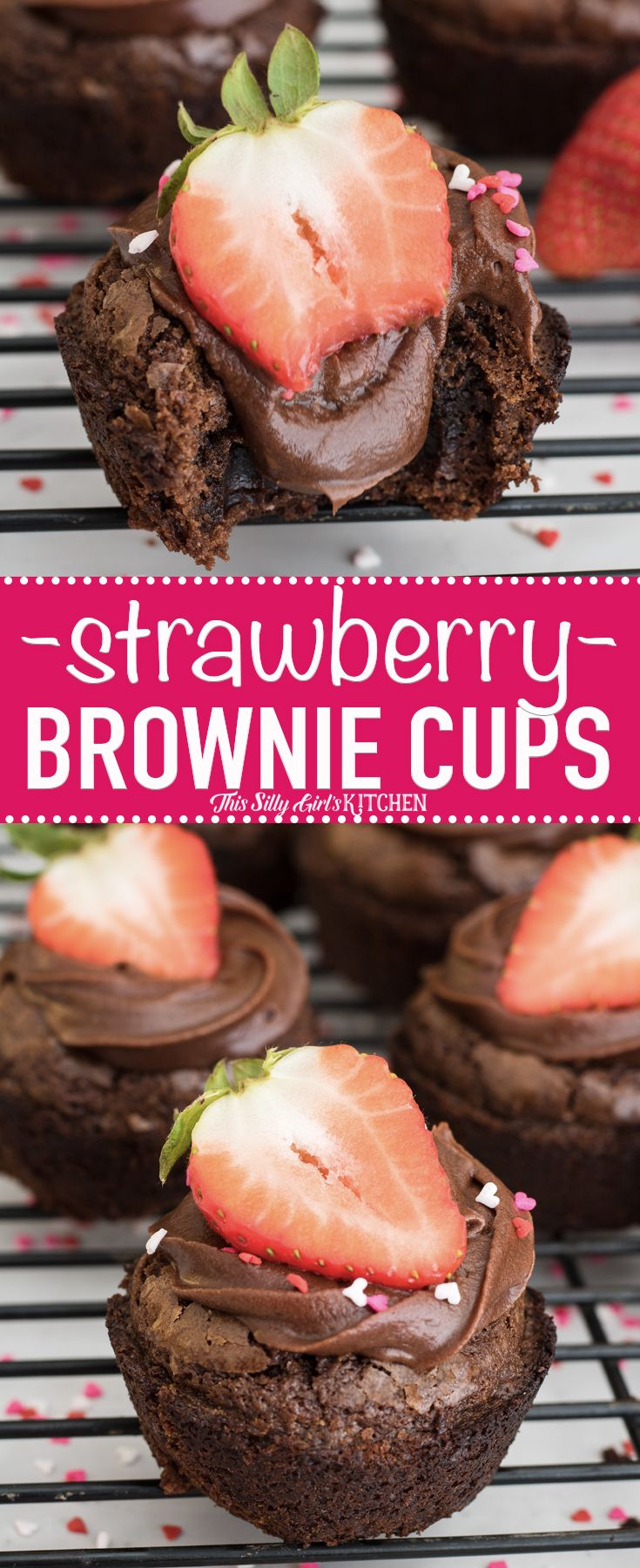 So easy to make - Strawberry Brownie Cups AD, brownie cups filled with chocolate frosting and topped with fresh strawberries! #Recipe from ThisSillyGirlsKitchen.com #brownie #strawberry #chocolate @PillsburyBaking