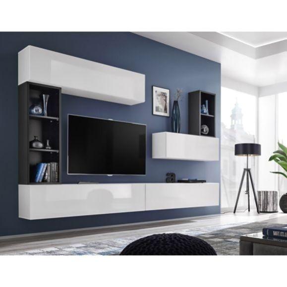 Paris Prix Meuble Tv Mural Design Blox I 280cm Blanc Noir Pas Cher Achat In 2020 Modern Tv Wall Units Living Room Wall Units Living Room Entertainment Center
