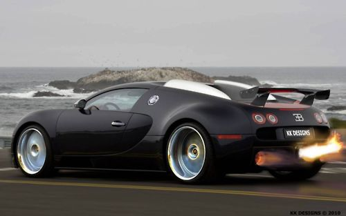 Matte black Bugatti. Love the fire coming out the back.