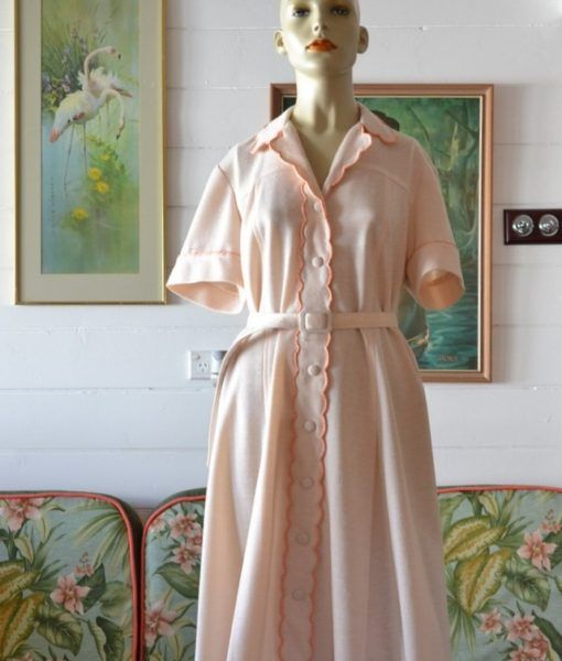 Vintage  Aprocot summer dress mid century size 14