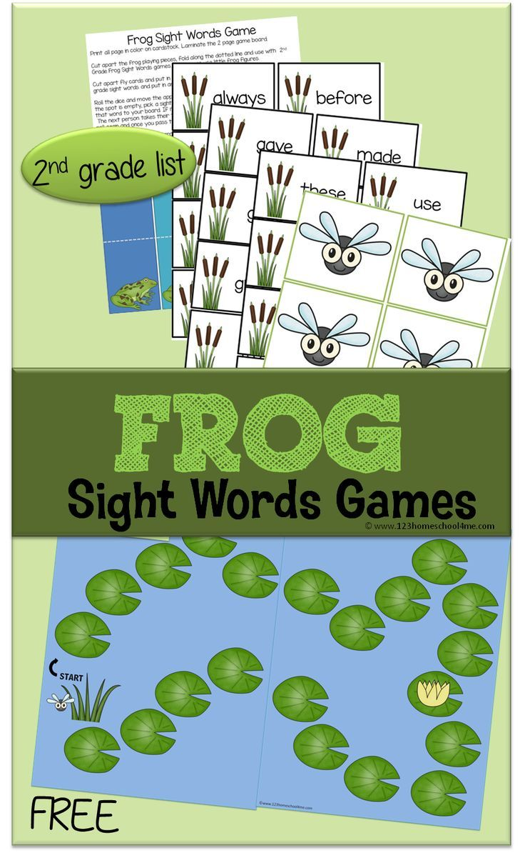 FREE Frog Sight Word Games - This free printable educational game will help kids practice sight words. This game is perfect for 1-4 players and reviews the 2nd grade dolch sight words. (homeschool, sight words, educational games, 1st grade, 2nd grade, 3rd