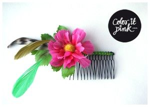 Coloritpink.com, www.coloritpink.tictail.com, Haircomb - with feathers and a fake flower, hårklämma, klämma, kam