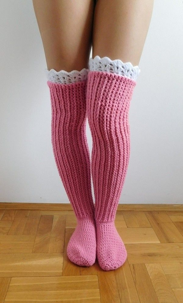 This listing is a Crochet PATTERN for knee high socks (or over the knee) with lace top, NOT a finished socks! Pattern is written in American Crochet terms and include 10 pages with 50 step by step pictures. Pattern includes directions on how to make croch