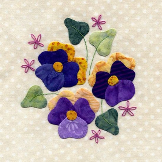 Pansy appliqué that makes a pretty quilt square!
