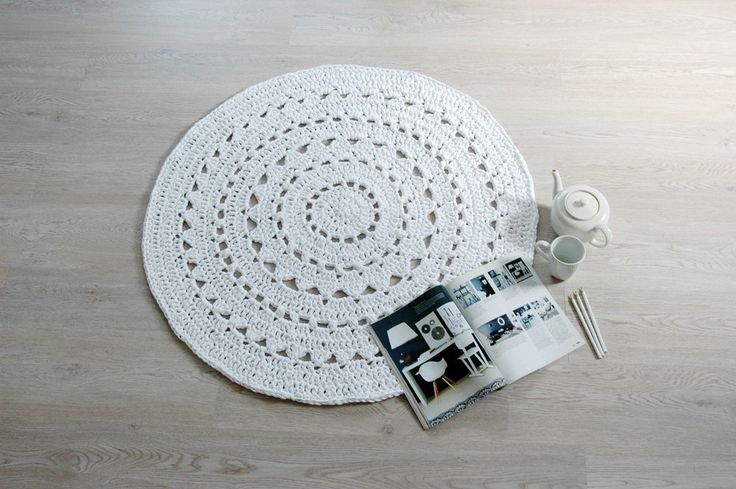 Doily #Crochet Rug NUULA / #Boho Area Rug / #Chunky Crochet Carpet / Shabby Chic / #Cottage Style - White by byBUUBOK on Etsy