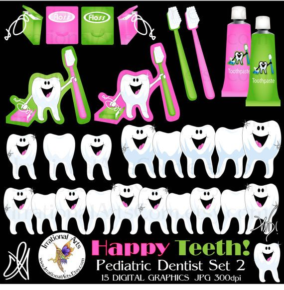 Happy Teeth graphics set for dentist clipart by IrrationalArts, $4.95