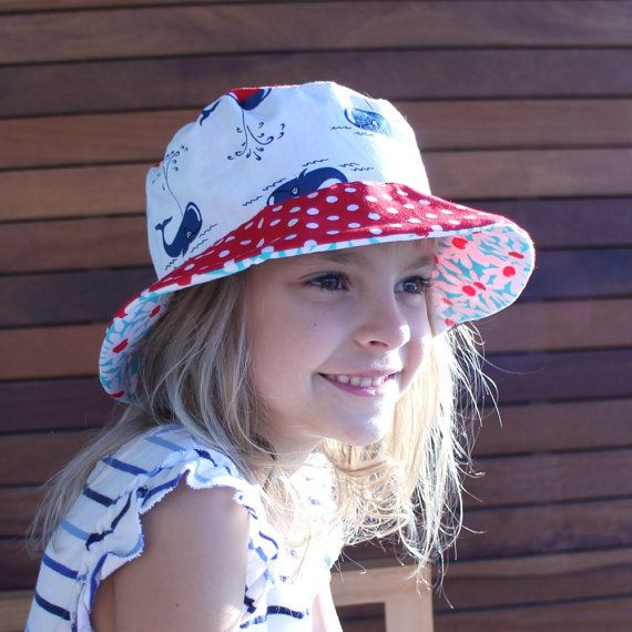 Adorable girl's bucket sun hat. This is so cute for the beach!