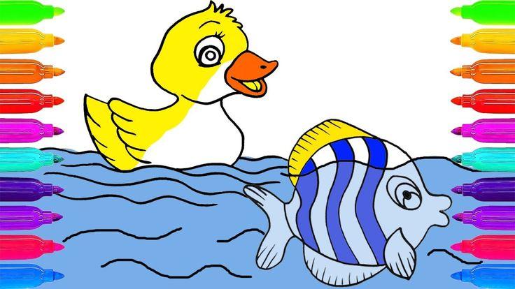 Dibuja y Colorea Una Pescado y Pato de Arco Iris 🎨 Dibujos Para Niños | ...
