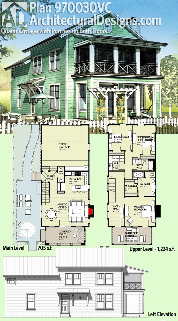 Architectural Designs House Plan 970030vc Is A Quaint Cottage With Porches On Both Floors It