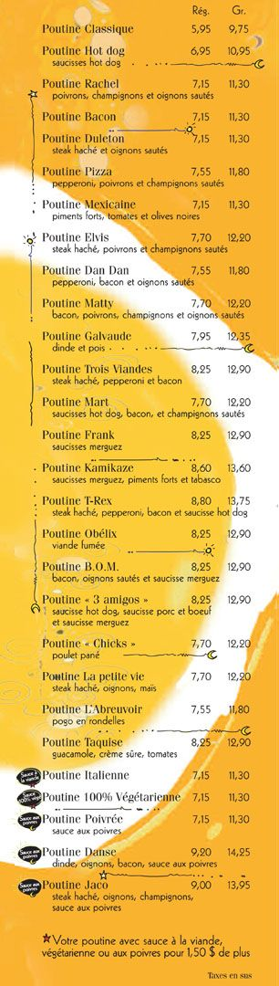 poutine options at la banquise in Montreal