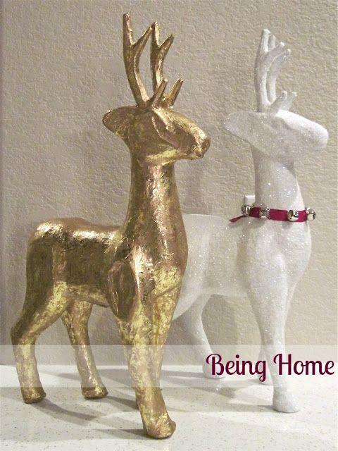 Being Home: Christams Decor - Paper Mache Snow Reindeer