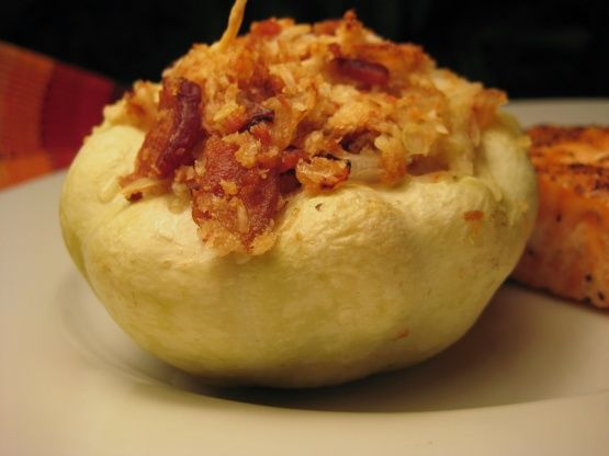 Stuffed Patty Pan Squash Recipe - Food.com. Substitute Field Roast sausage for the bacon.  Delicious!