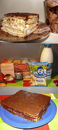 Торт без выпечки из печенья с твороженным кремом - Простые рецепты Овкусе.ру