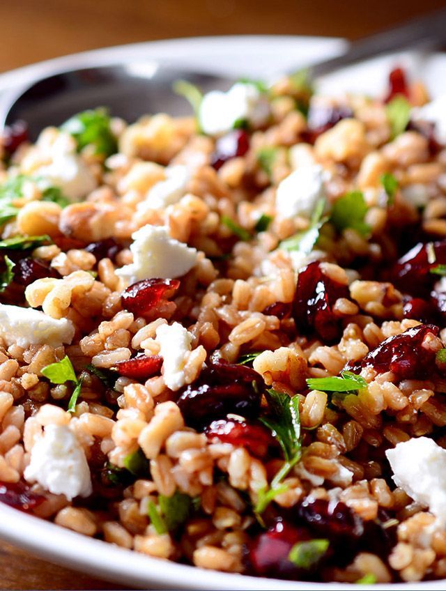 A healthy, hearty salad with farro, cranberries and goat cheese all tossed in a tangy balsamic vinaigrette.