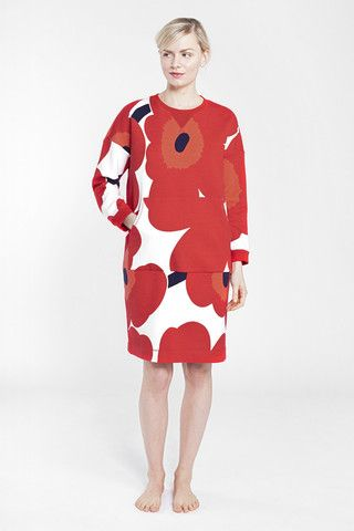Marimekko Kross Unikko Lounge Dress White/Red/Dark Violet | Kiitos Marimekko