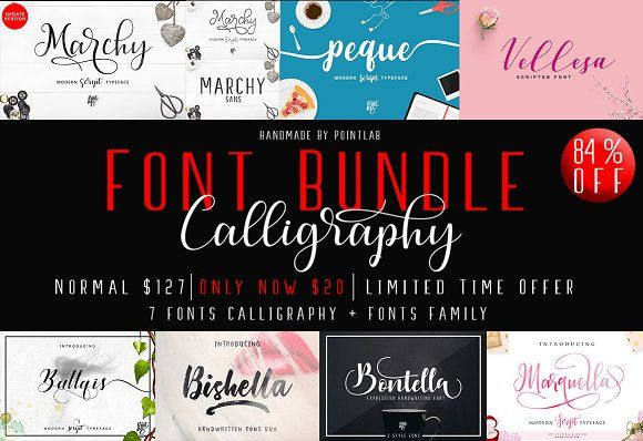 84% OFF_Font Bundle Calligrapy by pointlab on @creativemarket