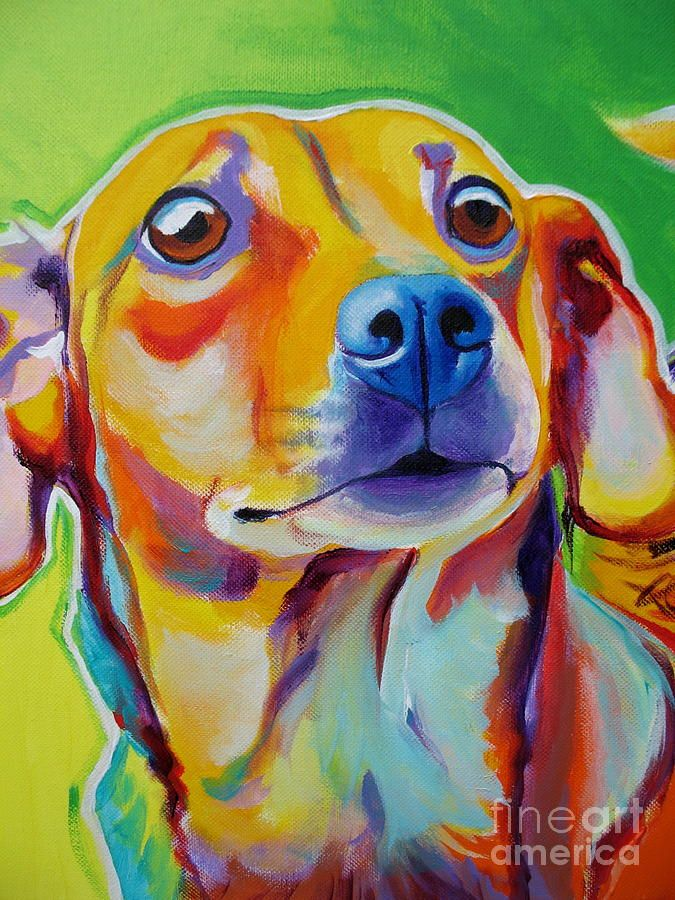 Chiweenie Little Dog Painting Alicia Vannoy Call
