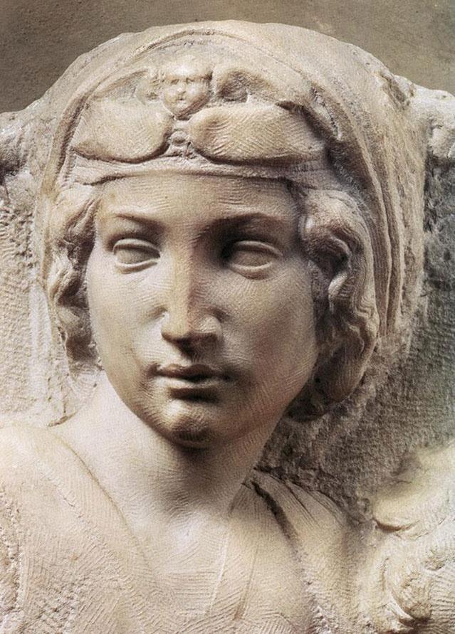 Michelangelo ~ Madonna (Tondo Pitti) detail.