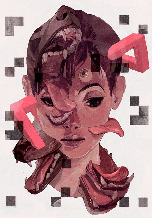 Ilustrações subliminares misturam conceitos atuais e retrôs