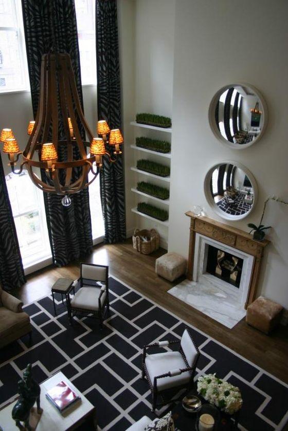 Bold Black U0026 White Geometric Rug Defines This Living Room