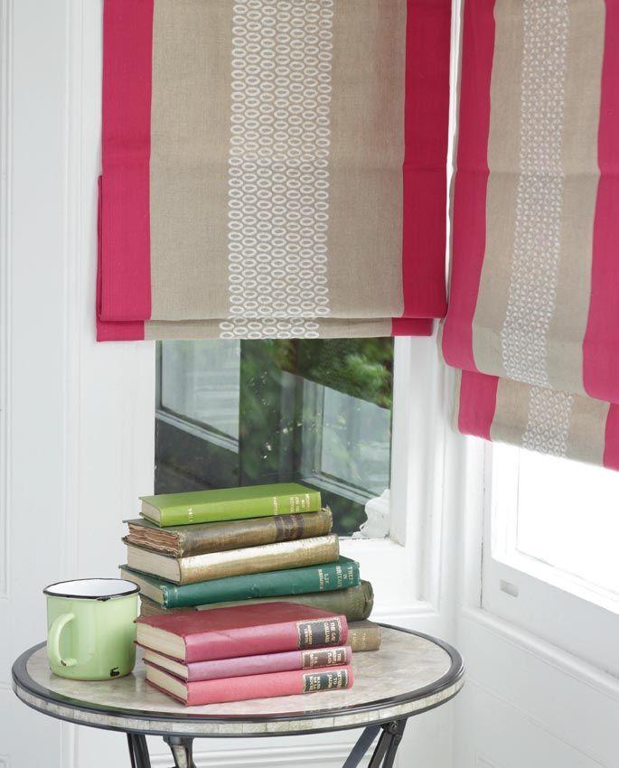 Killarney fabric as roman blinds www.osborneandlittle.com