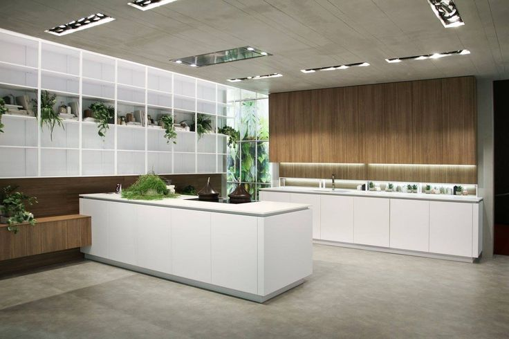 #Kitchen Look with matt lacquered artic white doors and park grey veneered wood. White quartz #worktop. #Eurocucina #Isaloni 2016.