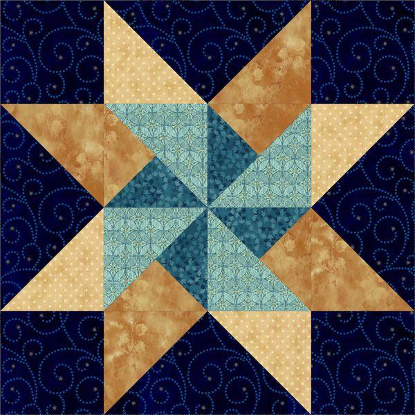 "Twirling Star 18"" Block | Quilts | Pinterest"