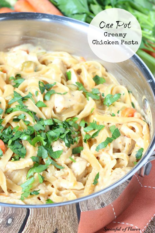 One Pot Creamy Chicken Pasta - chicken, vegetables and creamy sauce packed into one pot!