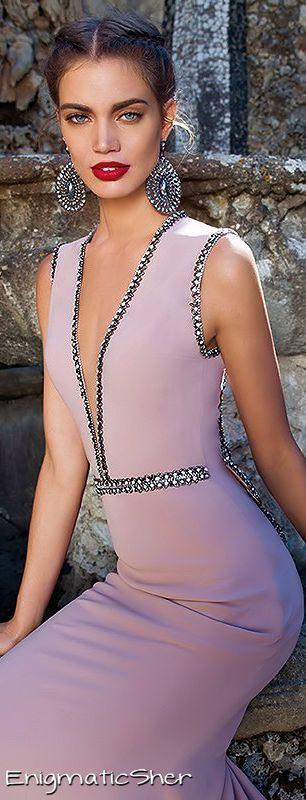 Tarik Ediz ~ Couture Low V-neckline Evening Gown, Orchid