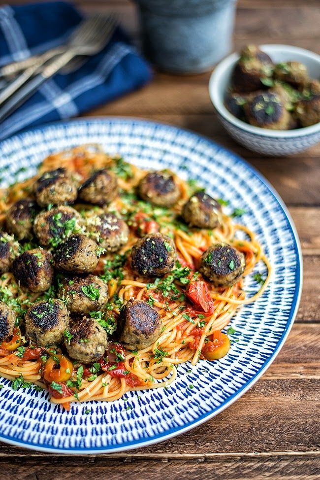 Not your usual spaghetti and meatballs! Vegan Aubergine 'Meatballs' with spaghetti and tomato sauce | Supergolden Bakes