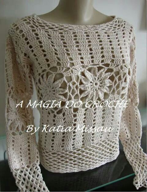 Crochet sweater with central flower motif Gorgeous ...
