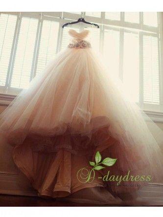 Charming Blush Pink Tulle Beaded Sash Flower A Line Sweetheart Bridal Dress Itemwd0533