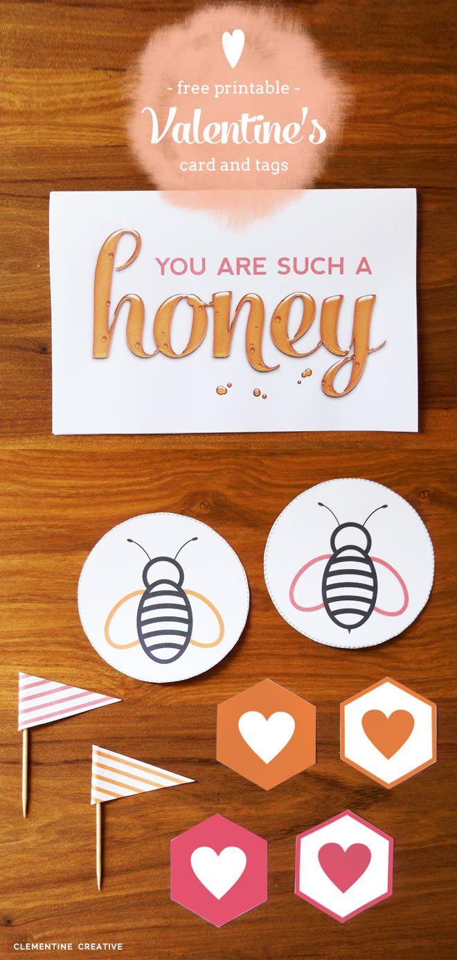 無料で印刷可能な蜂蜜のバレンタインデーのカードやタグ