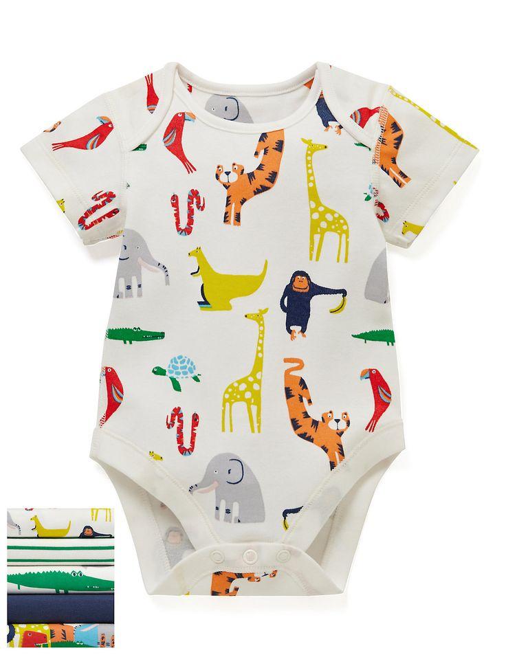 5 Pack Boys' Animal Print Short Sleeve Bodysuits
