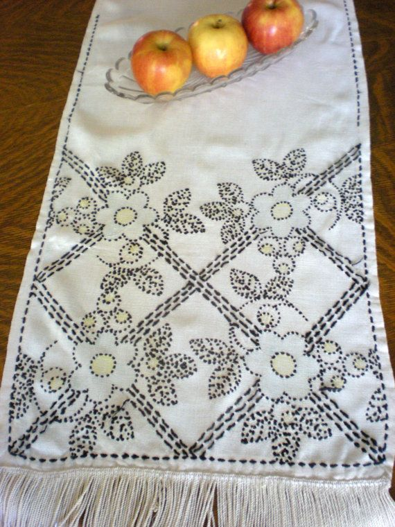 Hand Sched Table Runner Art Deco Dresser Scarf By Chloeswirl