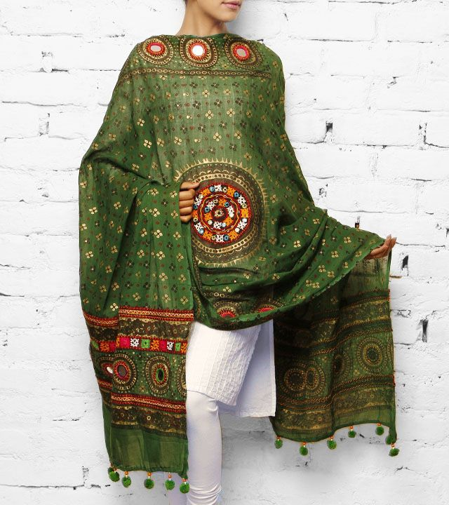 Green Cotton Dupatta with Kutch Embroidery