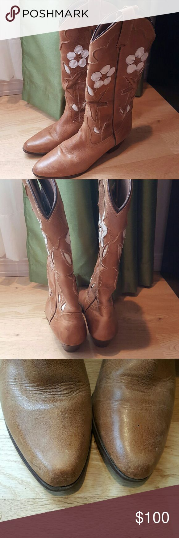 Cute cowboy boots Super cute gently loved cowboy boots! These were purchased a few years ago from a western wear store and weren't cheap! Vintage style cowboy boots with sparrow and white leather flower detailing, small riding heel! These are super cute with dresses and shorts! oak tree farms  Shoes Heeled Boots