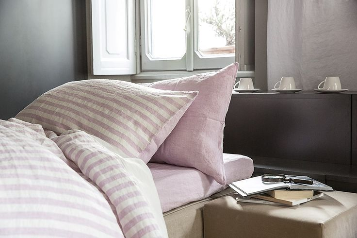 MarinaC - ROMY - duvet cover in washed linen in soft pink stripes -  shop.marinac.it #marinacmilano